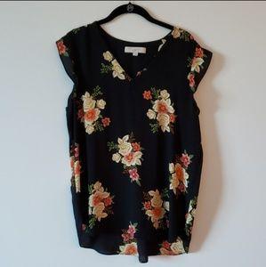 Loft EUC Black Floral Top Size L